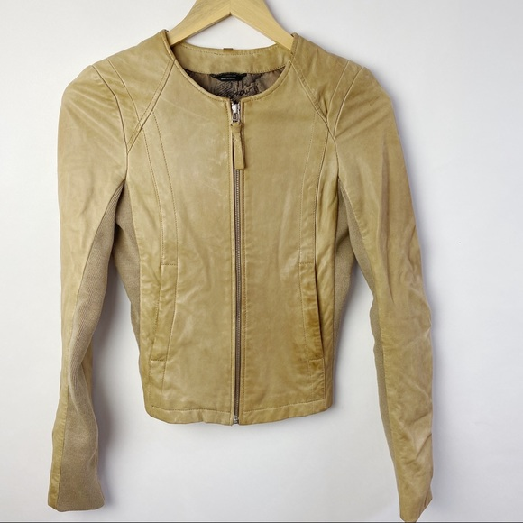 Mackage for Aritzia tan leather moto jacket